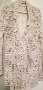 Knit wrap with large buttons